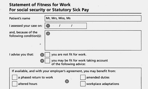 For work notes sick Sick Note